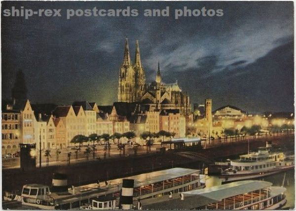 Cologne (Germany) cathedral & steamers, postcard (a)